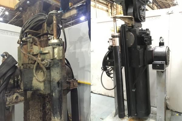 Before and after of repaired hydraulic cylinders